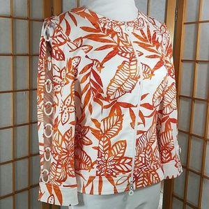 Joseph Ribkoff orange tropical print zip up jacket